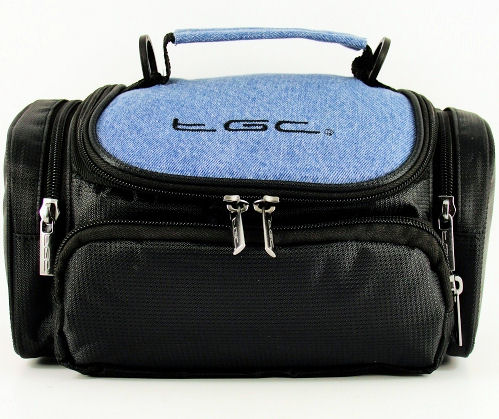 tgc washed blue denim black carry case bag for canon