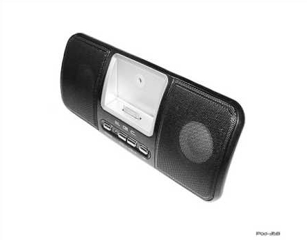 Product Photo/Black Stereo Speaker System with Dock  for iPod Video - Touch - Photo - Nano- iPhone - Mini - Classic & MP3/MP4 Players/Click to view.
