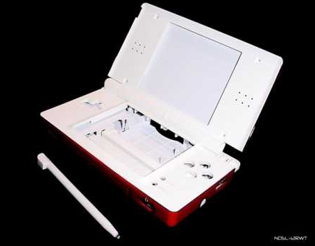 Product Photo/Nintendo DSL Lite Red with White Trims and Interior Full Replacement Console Shell/Click to view.