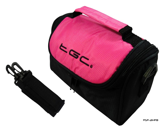 Product Photo/Hot Pink & Black Case Bag for Sanyo Full HD Lifestyle VPC-SH1EXR Camcorder /Click to view.
