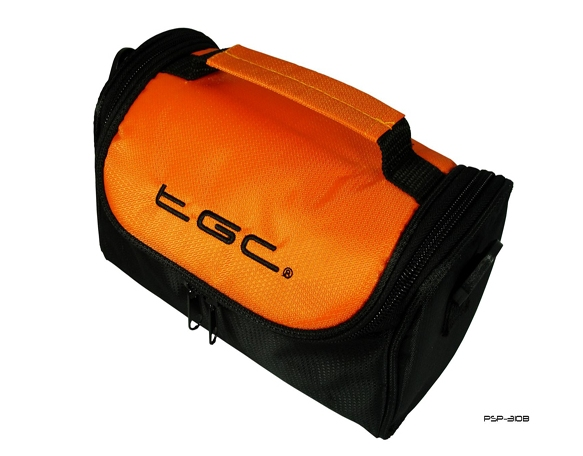 Product Photo/Hot Orange & Black Case Bag for JVC Full HD Everio Wi-Fi GZ-EX215BEK Camcorder /Click to view.