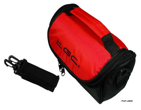 Product Photo/Crimson Red & Black Bag for Sanyo Outdoor / Waterproof VPC-CA9EXR-B Camcorder /Click to view.