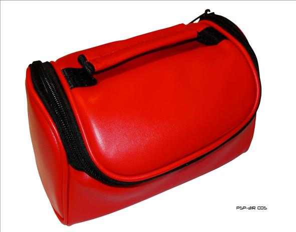 Product Photo/New Crimson Red Faux Leather Travel Bag Case for Vexia OnRoad 455 Sat Nav GPS/Click to view.