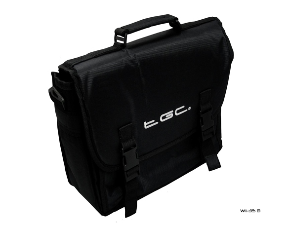 Product Photo/New Black Messenger Style TGC Padded Carry Case Bag for Portable DVD Players/Click to view.