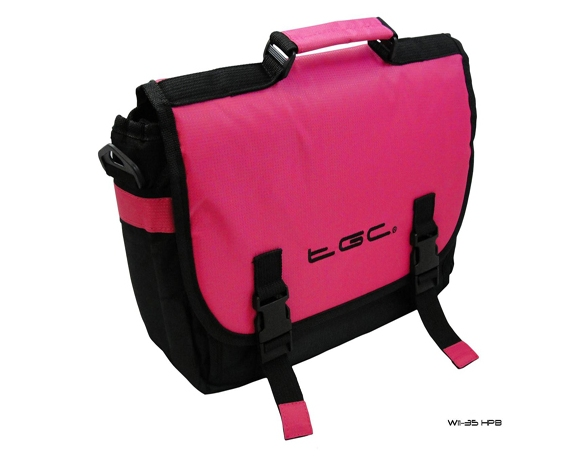 Product Photo/Hot Pink & Black Messenger Style Padded Carry Case Bag for Portable DVD Players/Click to view.
