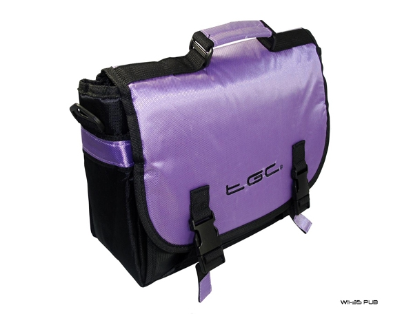 Product Photo/Purple & Black Messenger Style Padded Carry Case Bag for Portable DVD Players/Click to view.