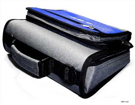 Product Photo/New Blue & Grey TGC Carry Case Bag for HP TouchPad Tablet - Dock - PSU - Cables/Click to view.