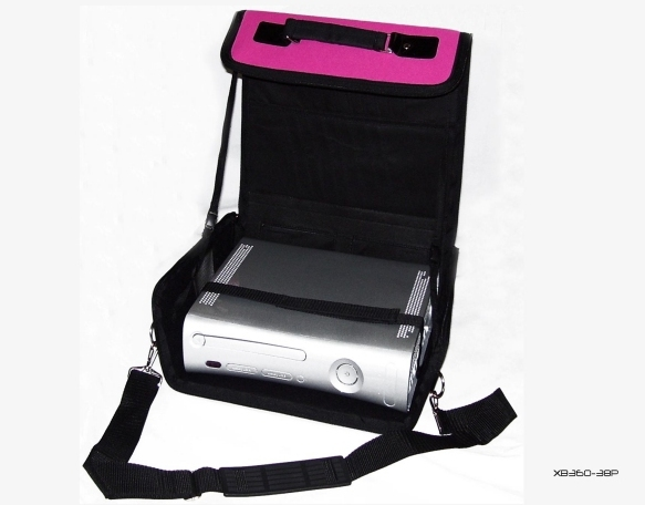 Product Photo/Pink Deluxe Console Carry Bag Case for Xbox 360 Slim/Click to view.
